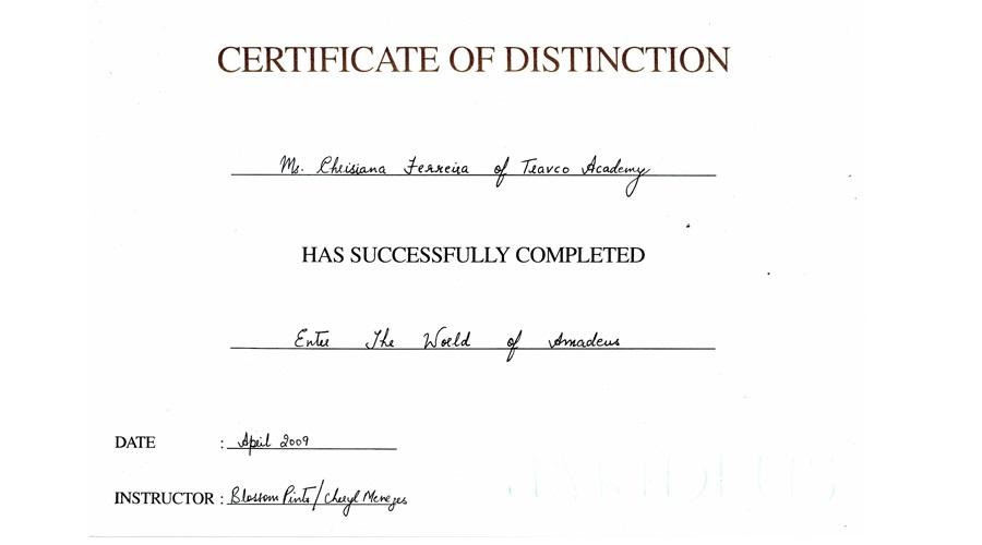 TAA Amadeus Certificate