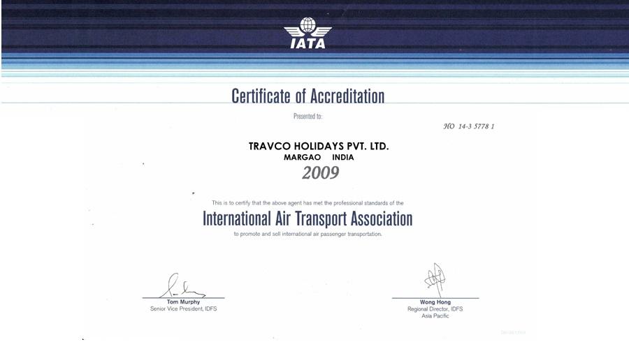Travco Certificate